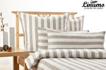 Bedding Set TAUBER 100% Linen White/Natural striped 2PC
