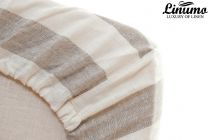 Fitted Bedding Sheet TAUBER 100% Linen White/Natural striped
