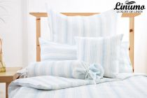 Linen Bedcover LENNE Linen Lightblue/White striped Differenz Siz