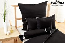Bedding Set NAHE 100% Linen black with a white cord row 2PC