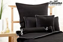 Linen Bedcover NAHE black with a white cord row various sizes