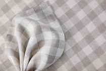 Linen fabric 100% Linen Vichy-check natural/white 160g/qm 160cm