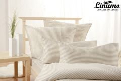 Bedding Set EMS 100% Linen White-Gray striped 2PC