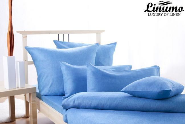 100% Linen Bedcover SALZACH Blue various sizes