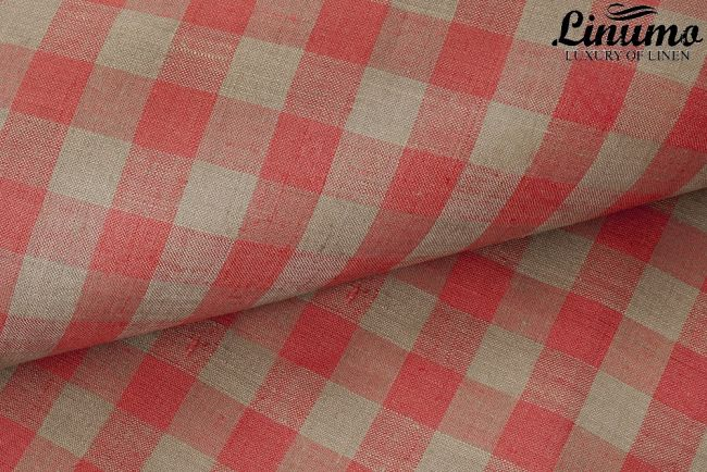 100% Linen Bedcover SPREE Red Checked various sizes