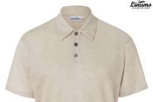 Airy polo shirt knitted in pure linen in various sizes