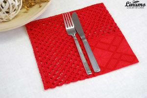 Beautiful crocheted linen napkin from 100% linen 45x45cm Red