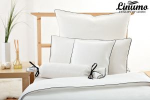 Bedcover RHEIN Linen white with a black cord row Different Sizes