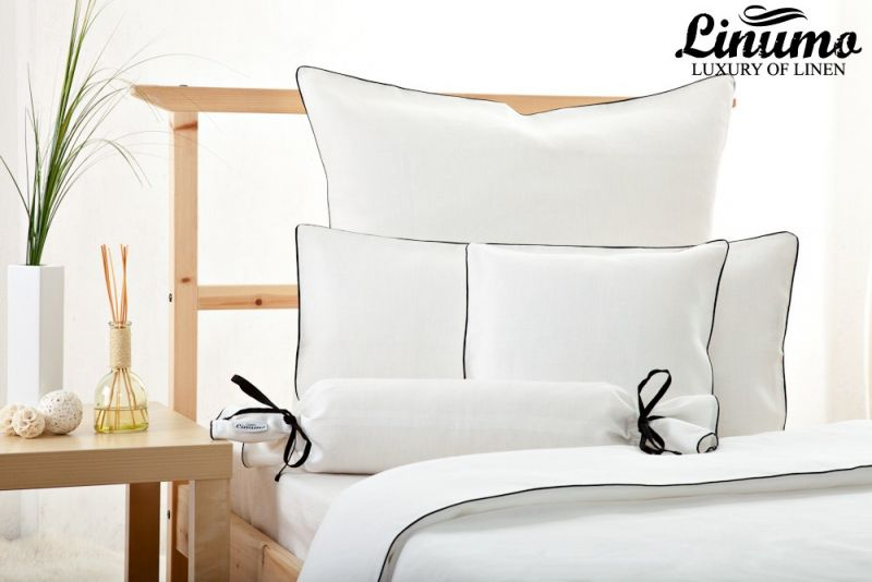 Bedding Set LESUM 100% Linen white with a black cord row 2pc