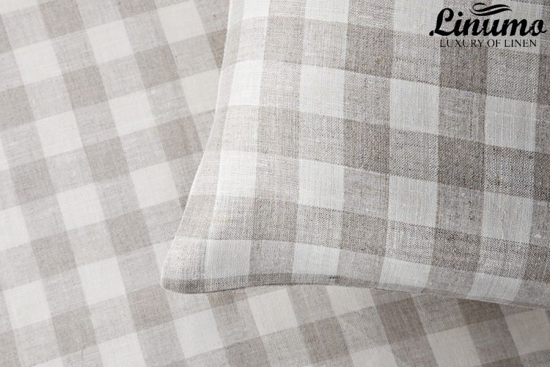 Bedding Set MOSEL 100% Linen white/gray checked Design 2pc