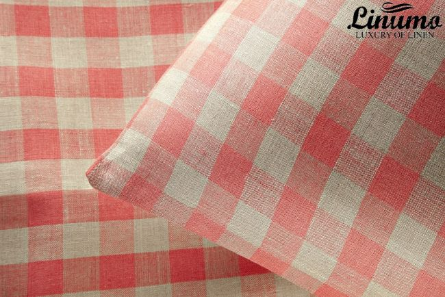 Bedding Set SPREE 100% Linen Red Checked  2PC