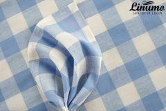 Bedding Sheet HAVEL Half-Linen Checked Blue 150x250cm