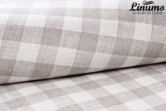 Bedding Sheet MOSEL 100% Pure Linen withe/gray Checked Design
