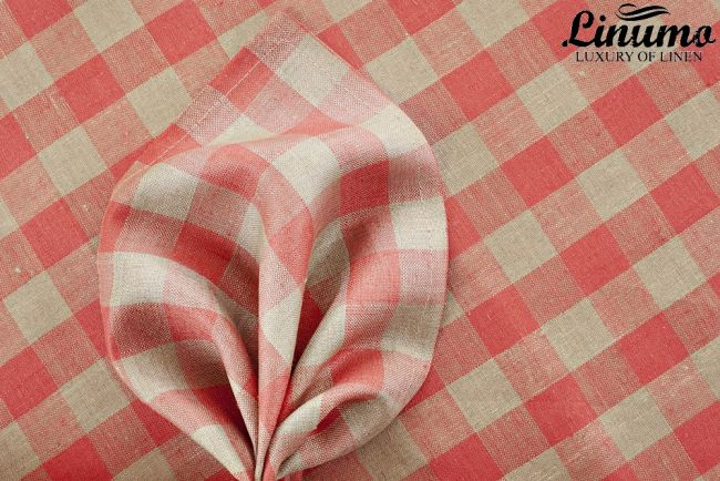Bedding Sheet SPREE 100% Pure Linen Red Checked 150x250cm