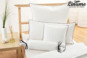 Bolster LESUM 100% Linen white with a black cord row