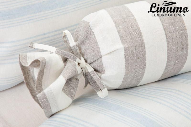 Bolster TAUBER 100% pure linen white-gray striped