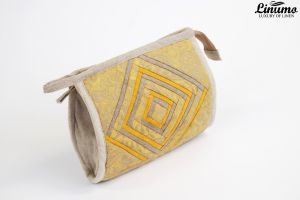 Cosmetic Bag made of 100% linen patchwork Gray/Yellow