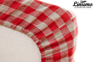 Elastic Bedding Sheet SPREE 100% Pure Linen Red Checked Color