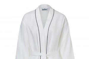 Exclusive robe made of 100% linen white with a black cord row
