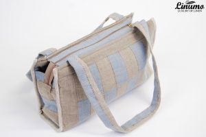 Fashionable Tote bag made from 100% linen Grey/Blue