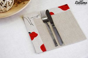 Fine 100% linen napkin 43x43cm Grey with flower print