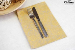 Fine linen napkin from 100% linen jacquard 34x49cm yelow/grey