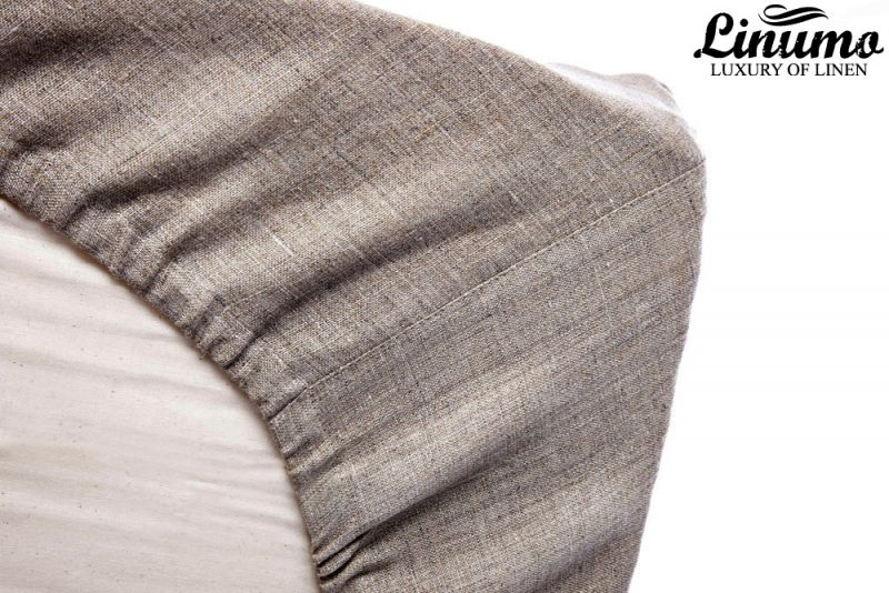 Fitted Sheet DONAU 100% Pure Linen Grey All Sizes