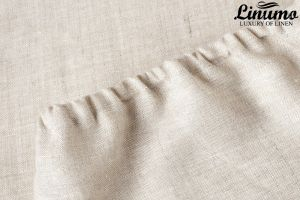 Fitted sheet ELBE 100% Pure Linen Beige/Grey Different Sizes