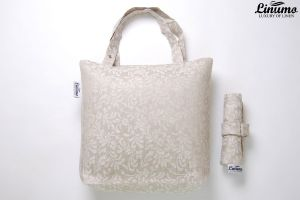 Foldable shopping bag made from 100% linen gray