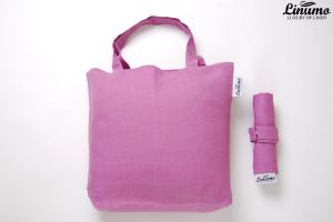 Foldable shopping bag made from 100% linen purple