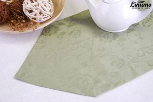 High quality table runner 100% Leinenjacquard Green Different Si
