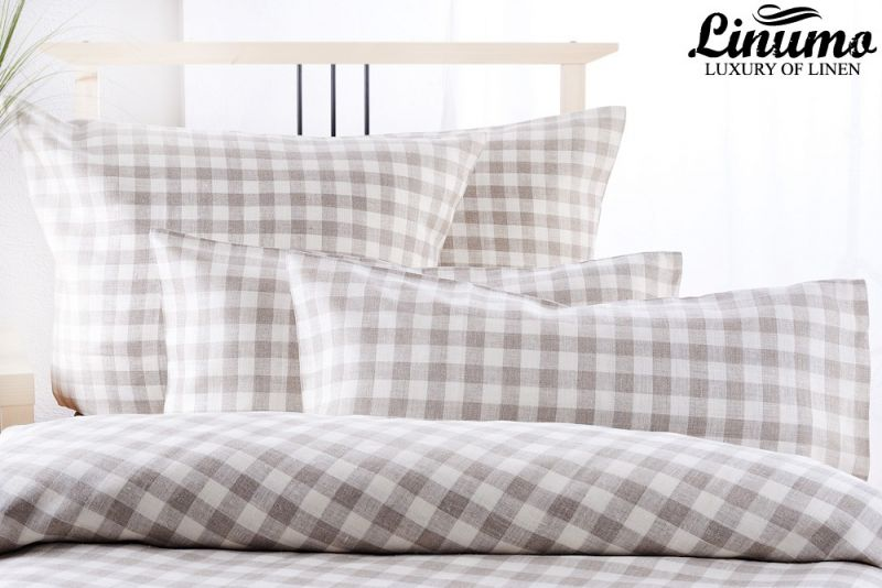 Linen Bedcover MOSEL Checked Design White Grey