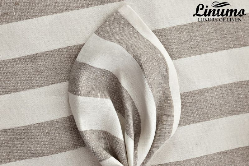 Linen Bedcover TAUBER White/Natural striped various sizes