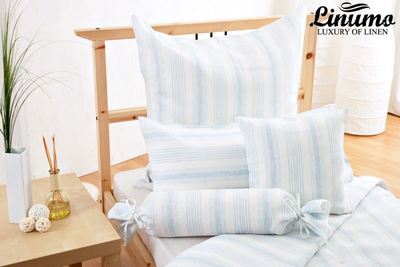 Linen Bedding Set LENNE Lightblue/White striped 2PC