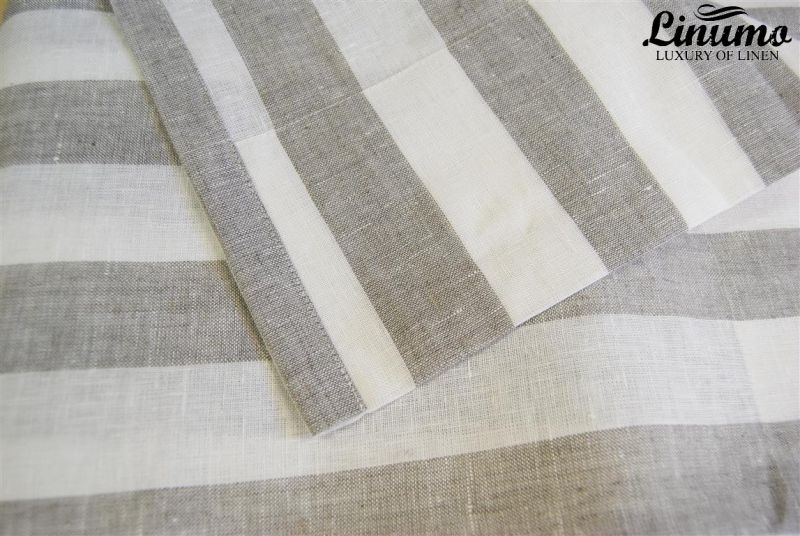 Linen curtain withe/natural striped 145x235cm M05C33215
