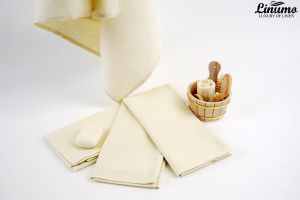 Luxury sauna & bath towel linen mix creamy white Different Sizes