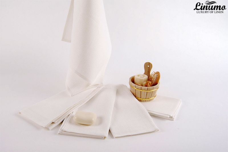 Luxury sauna & bath towel linen mix white Different Sizes