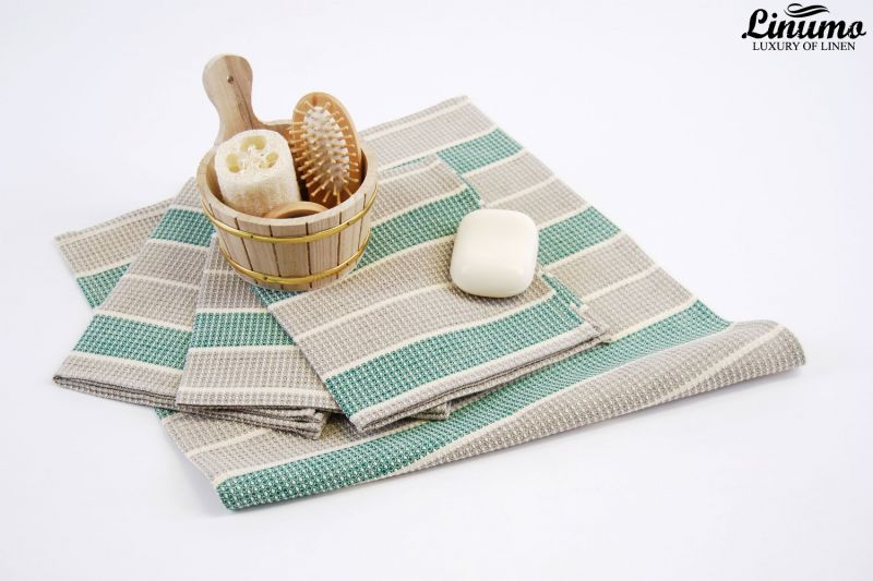 Luxury sauna & bath towel linen mix white/beige/green