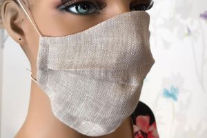 Mouth and nose mask mouth covering 100% linen natural washable