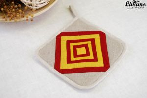 Oven cloth 100% Linen 20x20cm Gray/Red/Yellow Patchwork