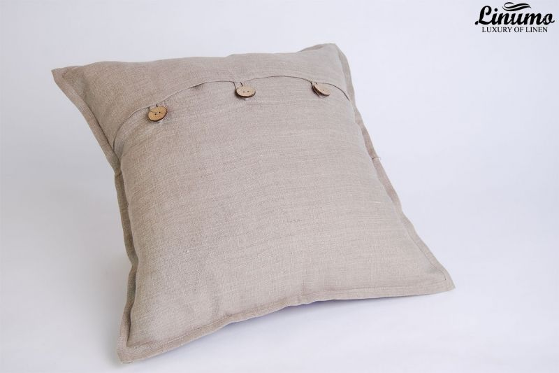 Pillow Cover 100% Linen 40x40cm Gray/Blue Jacquard
