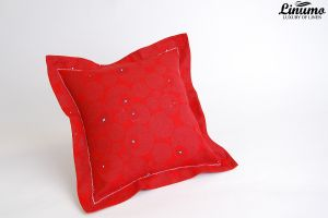 Pillow Cover 100% Linen 40x40cm Red Stand-Up Hem