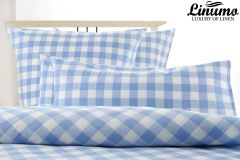 Pillow Cover HAVEL Half-Linen Checked Blue Different Sizes