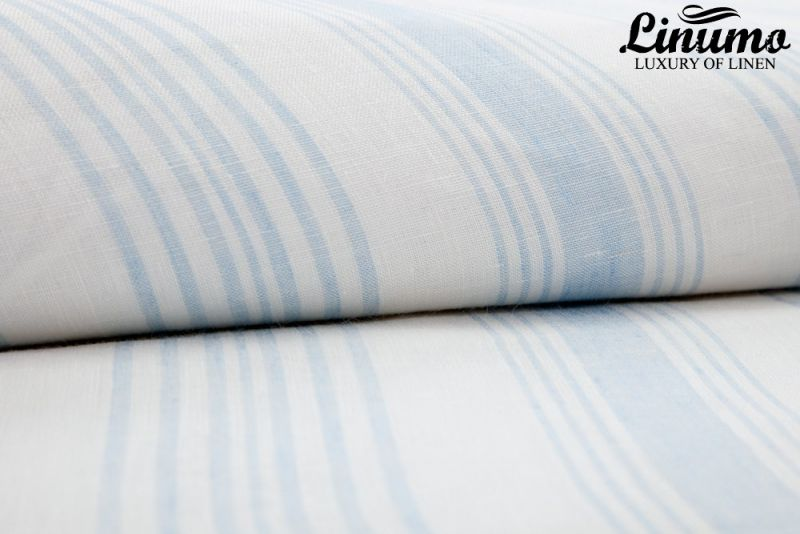 Pillow Cover LENNE 100% Linen Lightblue/White striped Diff. Size