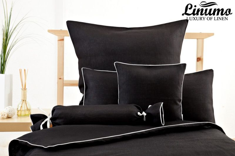 Pillow Cover NAHE Linen black with a white cord row Different Si
