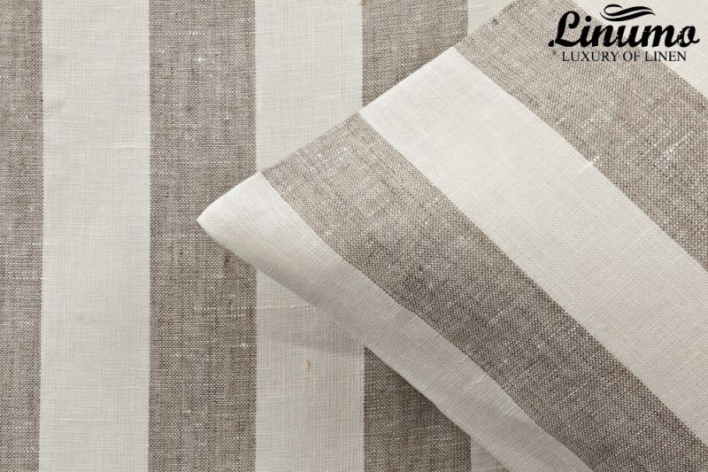 Pillow cover TAUBER 100% linen white-natural striped dif. sizes