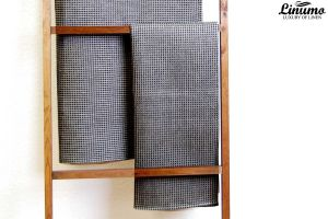 Sauna & bath towel pique 50% linen black/gray Different Sizes