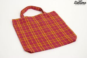 Shopping Bag made from 100% linen purple/yellow