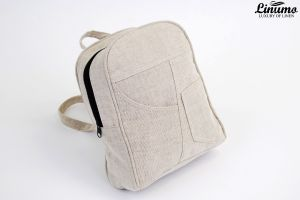 Small backpack made from 100% linen Grey