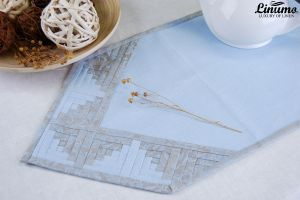 Table Runner 100% Linen Light Blue Patchwork Different Sizes